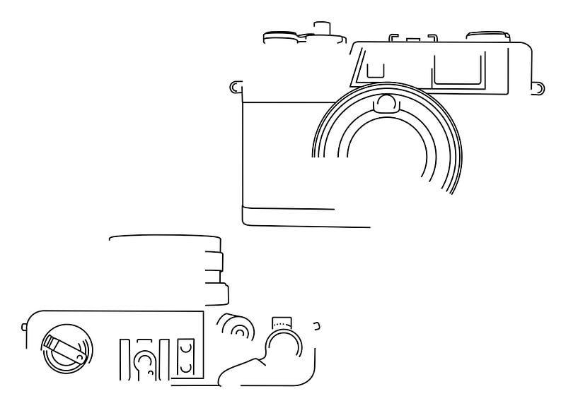 Analoge Camera Silhouet (Yashica Electro 35 GX-style) van Drawn by Johan