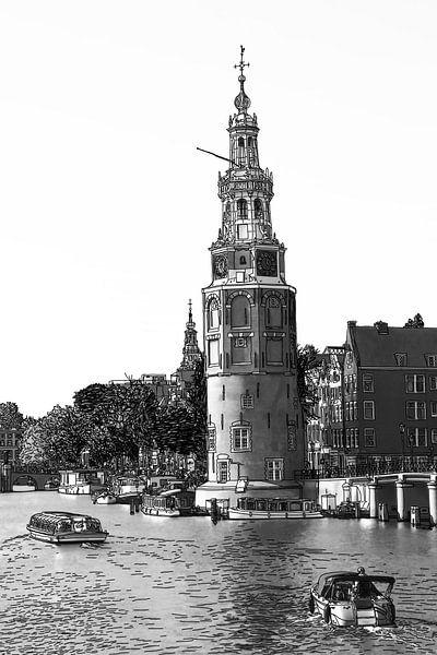 Pentekening Amstel Montelbaanstoren Amsterdam Nederland Tekening Lijntekening Zwart-Wit van Hendrik-Jan Kornelis