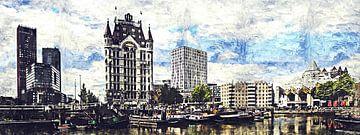 Het Witte Huis en de kubuswoningen in Rotterdam (kunstwerk) van Art by Jeronimo