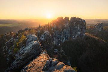 Schrammsteine zum Sonnenuntergang von Thomas Franke
