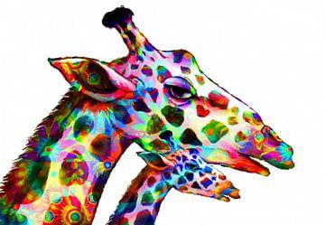 kleurrijke giraffe van Marion Tenbergen