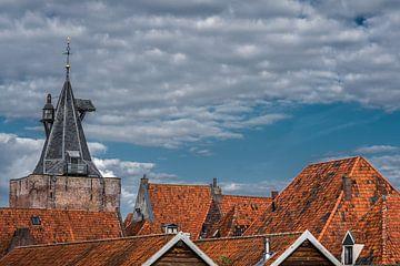 De toren van de entreepoort van Elburg in Gelderland van Harrie Muis