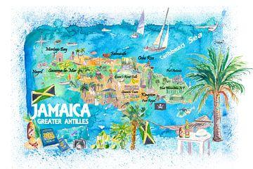 Jamaika Illustrierte Reisekarte mit Straßen und Highlights von Markus Bleichner