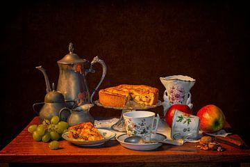 Stilleven: Koffie met appeltaart van Carola Schellekens