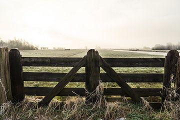 Boeren hekwerk en een polderlandschap in de winter in Nederland van Leoniek van der Vliet