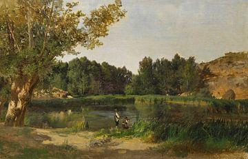 Carlos de Haes-Lagoon Landschaft, Wildentenjagd am Fluss, Antike Landschaft