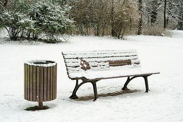 Parkbank mit Papierkorb in einem Park im Winter von Heiko Kueverling