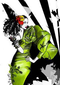 Grünes Kleid - Modeillustration