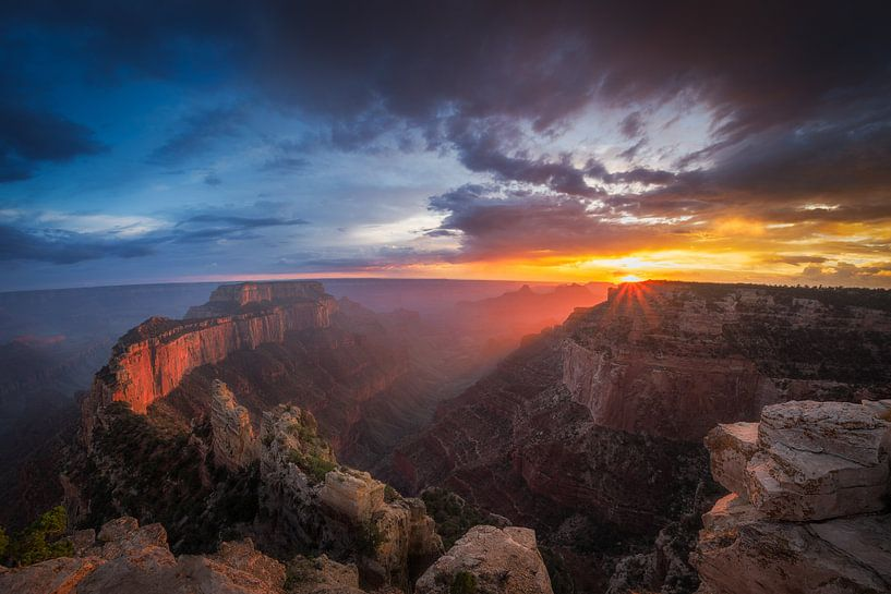 Grand Canyon Zonsondergang van Edwin Mooijaart