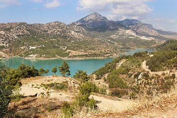 Landschap van een stuwmeer in Cyprus von Lindy Hageman