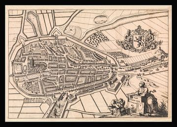 Plattegrond van Zierikzee (Zeeland) van anno ca 1696, met zwart kader. van Gert Hilbink