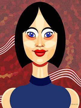 Dame In Blauw van Ton van Hummel (Alias HUVANTO)