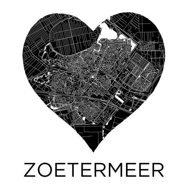 Liefde voor Zoetermeer ZwartWit  |  Stadskaart in een hart van Wereldkaarten.Shop