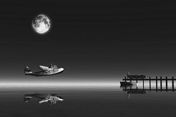 Klassiek - Retro vliegtuig dat vertrekt vanaf de zee met vrouw op steiger