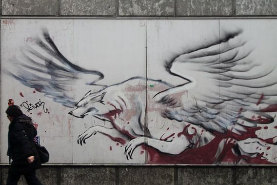 mythische wolf grafitti groningen van Martijn Wams