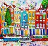 Grachten Amsterdam van Vrolijk Schilderij thumbnail