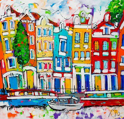 Grachten Amsterdam van Vrolijk Schilderij