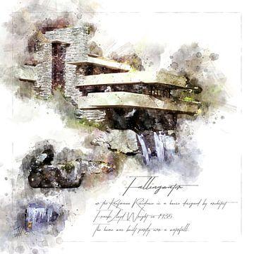 Fallingwater, Aquarell, Frank Lloyd Wright, von Theodor Decker