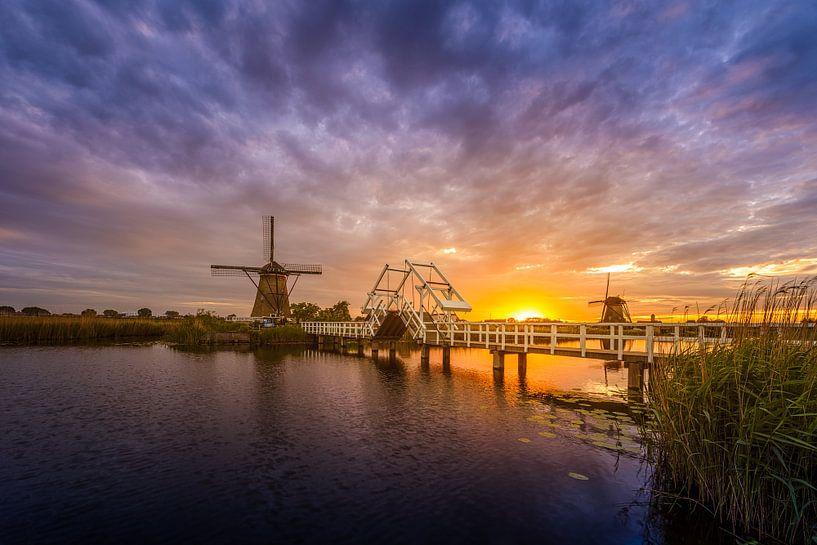 Zonsondergang Kinderdijk van Michiel Buijse