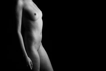 Eine völlig nackte Frau, die mit Wassertropfen bedeckt ist. von Retinas Fotografie