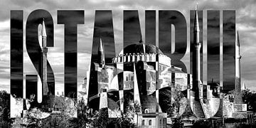 Istanbul Hagia-Sophia schwarz weiß von Bass Artist