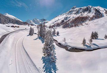 Sertigtal, route de fond, Davos - Sertigtal, Grisons, Suisse sur Rene van der Meer