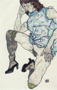 Egon Schiele. knielend meisje