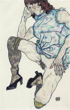 Egon Schiele. knielend meisje van