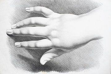 Gestreckte Hand von oben gesehen, Studie in schwarz-weiß von Henk Vrieselaar