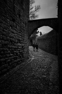 Couple walk on cobblestone in Carcassone
