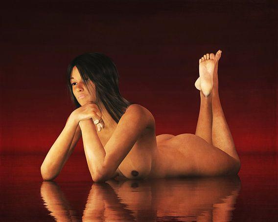 Erotisch naakt - Naakte vrouw verdwaald in gedachten