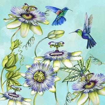 Passiebloemen hummingbird van Geertje Burgers