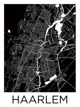Haarlem   Plan de la ville en noir et blanc sur Wereldkaarten.Shop