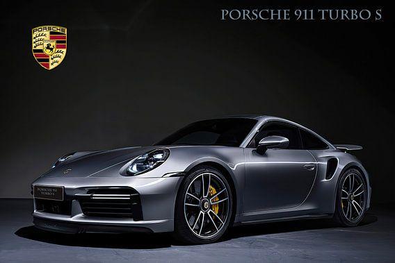 Porsche 911 Turbo S mit Wappen und Text