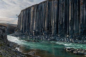De Basalt vallei studlagil in Oost IJsland van Gerry van Roosmalen