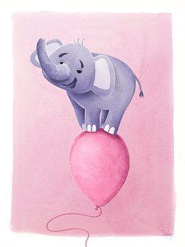 lila Elefant auf rosa Ballon von Stefan Lohr