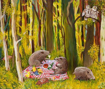 Schweinepicknick van Dorothea Linke