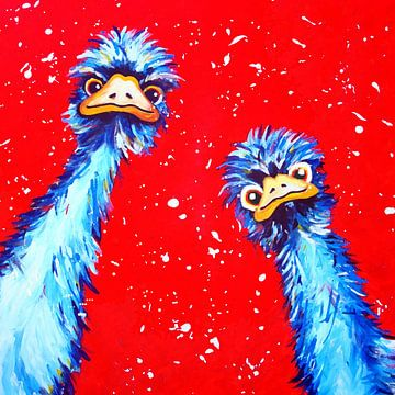 Struisvogels met rode achtergrond van Nicole Habets