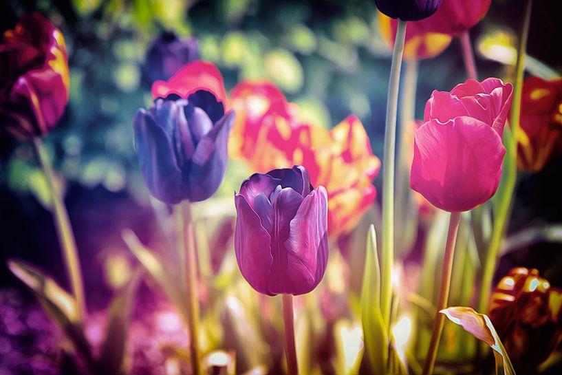 Ein buntes Meer aus Blumen - stimmungsvolles, farbenfrohes Blumenfeld aus Tulpen - Frühlingserwachen von Jakob Baranowski - Off World Jack