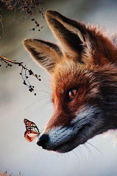 Vos met vlinder op zijn neus in het bos - Natuur - Dieren - Vossen - Insecten van Hendrik Jonkman