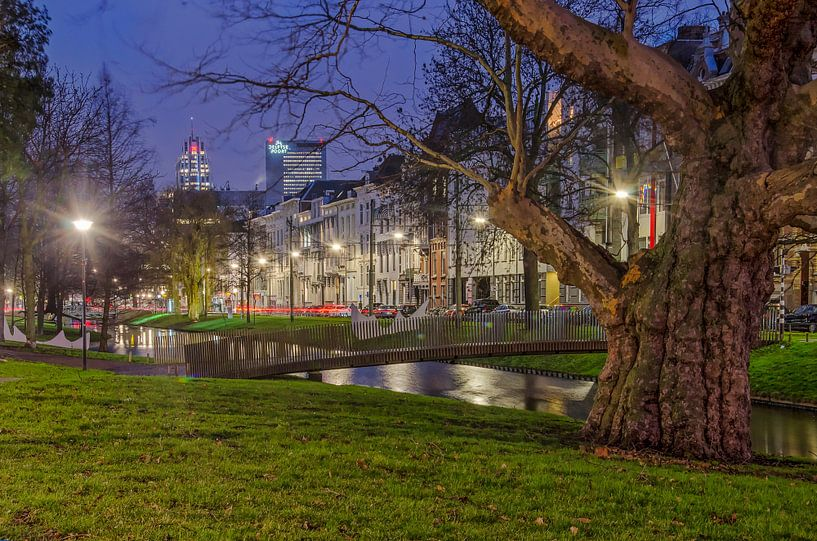 Westersingel Rotterdam in het blauwe uur van Frans Blok