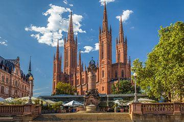Marktsäule und Marktkirche, Wiesbaden von Christian Müringer