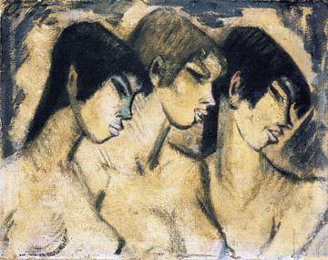 Drei Mädchen im Profil, Otto Mueller - ca 1918