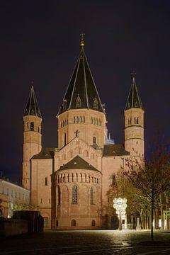 Der Mainzer Dom bei Nacht von Berthold Werner