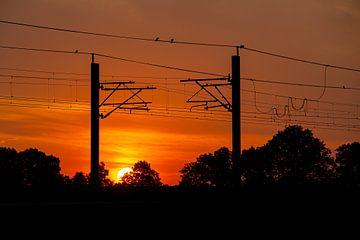 Un lever de soleil sur la ligne Hanze près de Zalk sur Stefan Verkerk