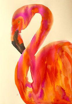 Flaming Flamingo van Helia Tayebi Art
