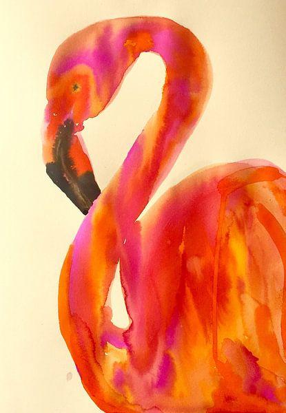 Flammender Flamingo von Helia Tayebi Art