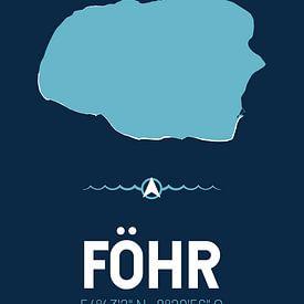 Föhr | Design-Landkarte | Insel Silhouette von ViaMapia