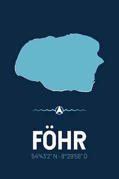 Föhr | Design kaart | Silhouet | Minimalistische kaart van ViaMapia