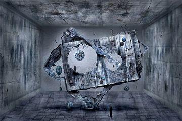 Modernes Kunstgebilde im Raum mit Uhr von Stefan teddynash